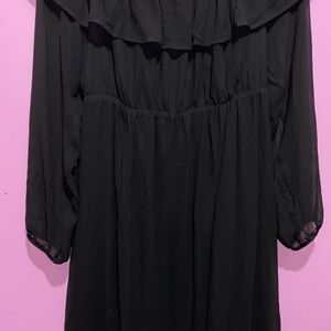 torrid Dresses - BLACK CHIFFON OFF SHOULDER RUFFLE SKATER DRESS